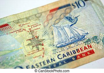 uno, dieci dollaro bill, da, il, orientale, caraibico