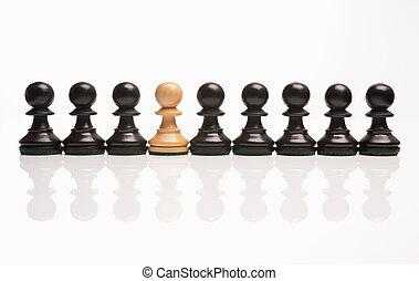 uno, dispari, scacchi, fuori