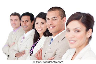 uno, diverso, squadra affari, levarsi piedi linea