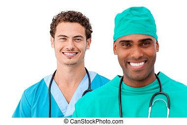 uno, diverso, squadra medica, standing, fila
