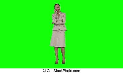 uno, donna d'affari, è, parlare, su, lei, telefono mobile