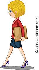 uno, donna d'affari, camminare