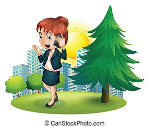 uno, donna d'affari, usando, uno, cellphone
