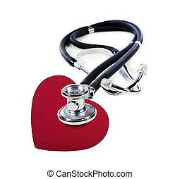 uno, dottore, stetoscopio, ascolto, a, uno, cuore rosso