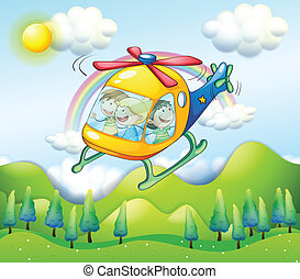 uno, elicottero, con, bambini