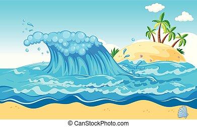 uno, enorme, onda, un, isola