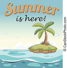 uno, estate, sagoma, con, un, isola
