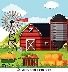 uno, fattoria, paesaggio, scena