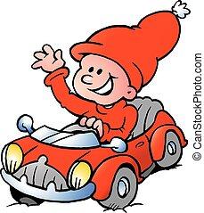 uno, felice, elfo, guida, in, uno, macchina rossa