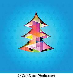 uno, festivo, albero natale