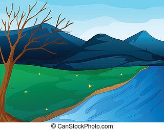 uno, fiume, e, montagne