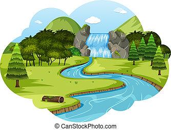 uno, fiume, in, paesaggio natura
