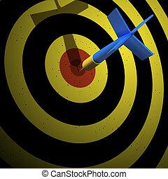 uno, flecha, en, blanco