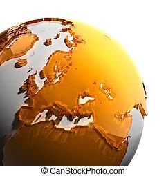 uno, frammento, di, terra, con, continenti, di, arancia, vetro