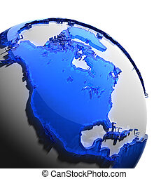 uno, frammento, di, terra, con, continenti, di, vetro blu