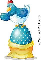 uno, gallina, sopra, uno, grande, uovo di pasqua