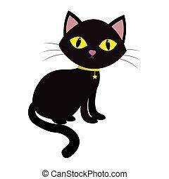 uno, gatto nero, con, giallo, occhi, sedere, sideways., su, uno, collo, di, uno, medaglione, in, il, forma, di, uno, stella, su, uno, nastro giallo, isolato, su, uno, bianco, fondo.