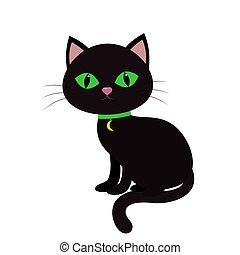 uno, gatto nero, con, occhi verdi, sedere, sideways., uno, collo, di, uno, medaglione, in, il, forma, di, luna, su, uno, verde, nastro, isolato, su, uno, bianco, fondo.