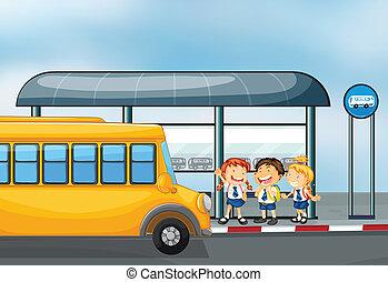 uno, giallo scolastico autobus, e, il, tre, bambini