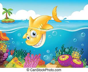 uno, giallo, squalo, tuffo, in, il, mare