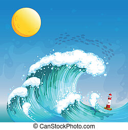uno, grande onda, con, uno, torre