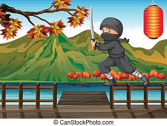 uno, grigio, ninja, a, il, porto marittimo