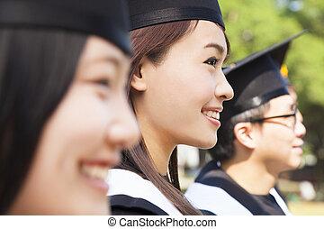 uno, gruppo, allegro, università, laureati, a, graduazione