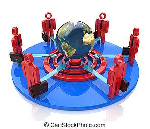uno, gruppo, di, concorrenti, cerchio, punteria, per, il, stesso, globale, scopo