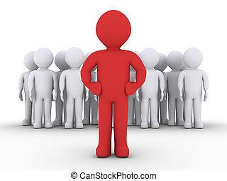uno, gruppo persone, e, loro, condottiero