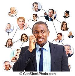 uno, gruppo persone, parlando telefono