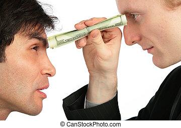 uno, hombre de negocios, mira, otro, por, pequeño, tubo, de, dólar