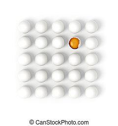 uno, huevo roto, en, filas, de, blanco, huevos