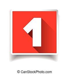 uno, icona, numero, o, etichetta