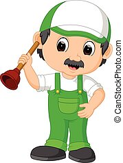 uno, idraulico, uomo tuttofare, cartone animato, carattere, presa a terra, uno, tuffatore