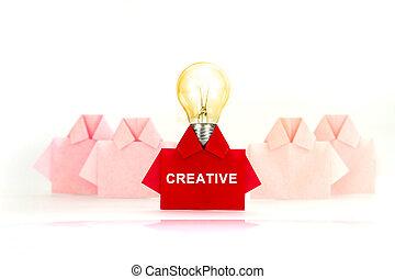 uno, individualidad, único, camisa, concept., creativo, papel, origami, blanco, diferencia, o, rojo