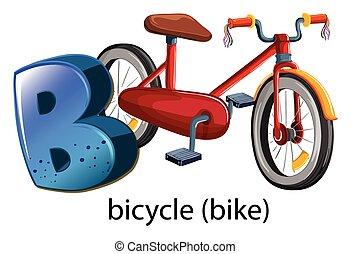 uno, lettera b, per, bicicletta