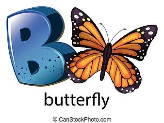 uno, lettera b, per, farfalla