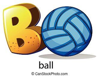 uno, lettera b, per, palla