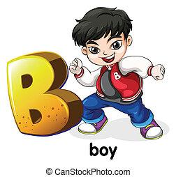 uno, lettera b, per, ragazzo