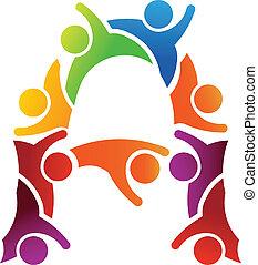 uno, lettera, persone, logotipo
