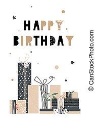 uno, luminoso, illustrazione, per, compleanno, giorno