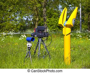 uno, macchina fotografica velocità, su, il, olandese, autostrada