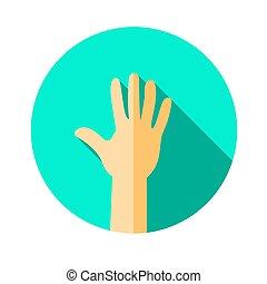uno, mano., mano, actuación, cinco, fingers., un, bienvenida, gesture.