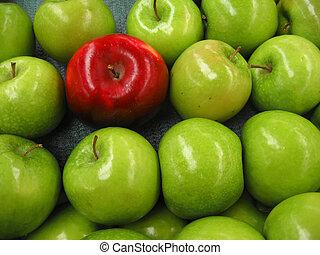 uno, manzana roja