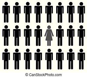 uno, molti, donna, uomini, pictogram