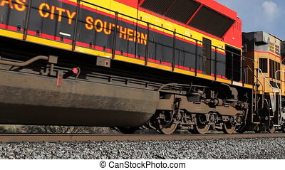 uno, molto, lungo, treno carico, passeggero, in, america
