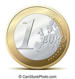 uno, moneda, euro