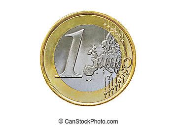 uno, moneta, euro