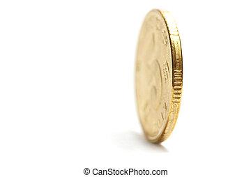 uno, moneta, oro, standing