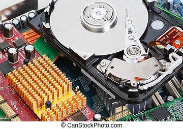 uno, mucchio, di, computer separa, scheda madre, duro, drive., close-up.